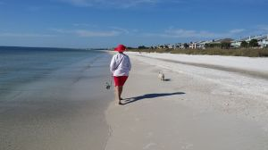 Missy and me walking on Mexico Beach