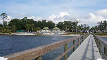 Beachfront pier at the too-good-to-be-true RV resort